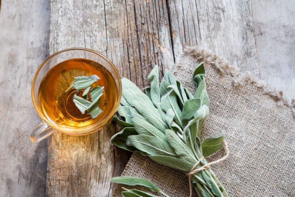 Salbei Tee mit frischen Blättern Glas auf Holz