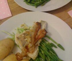 Wilder Spargel Mit Fisch Und Kartoffeln