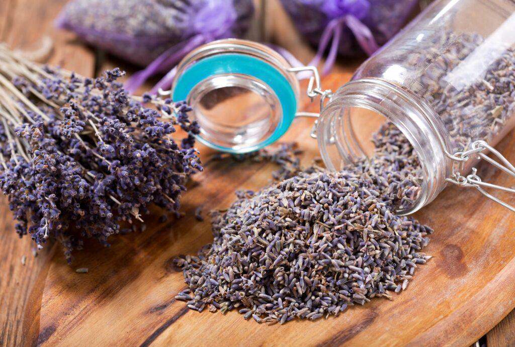 Lavendel getrocknet mit Glas
