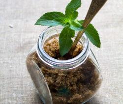 Pfefferminze Und Brauner Zucker Im Glas