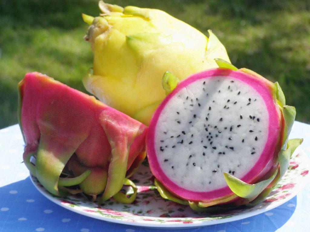 Drachenfrucht aufgeschnitten pink und gelb komische Früchte