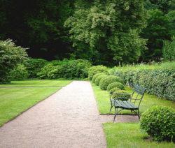 Rasen Im Schlosspark Weg Mit Bank Und Büschen
