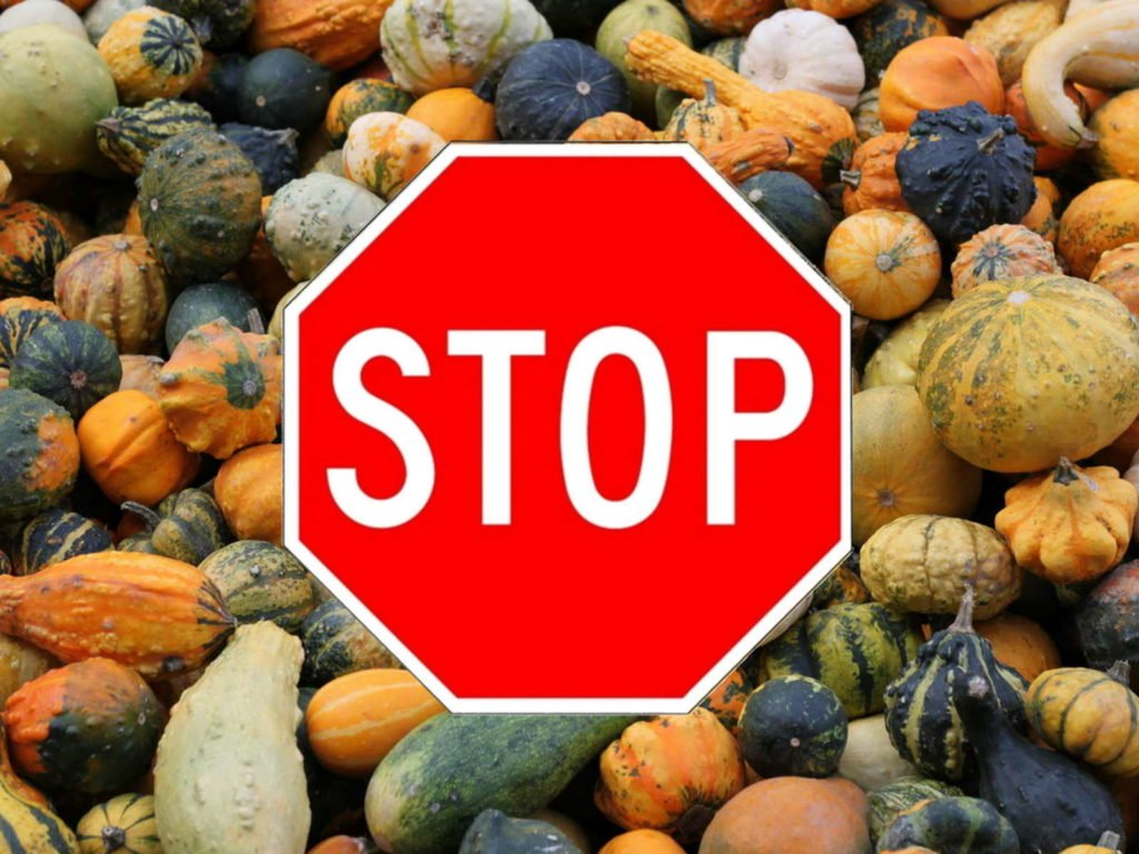 Stop-Schild über giftigen Kürbssen