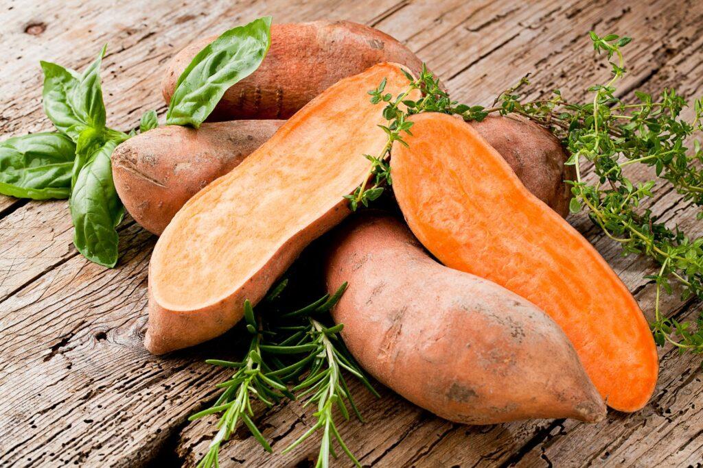 geschnittene Süßkartoffeln