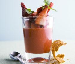 Dessert Zitronenmelisse Schokolade Und Erdbeeren