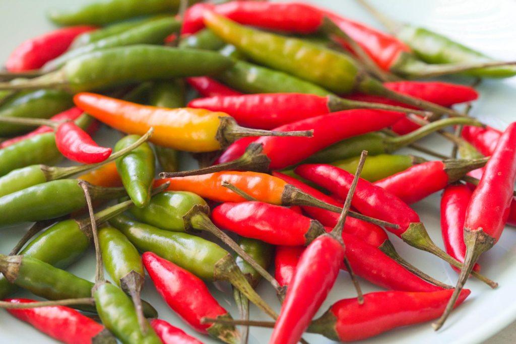 Rote, grüne und gelbliche Chilis
