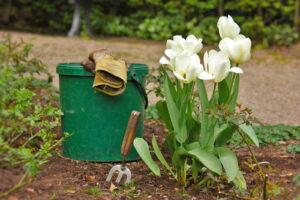 Garten Tulpe Eimer Handschuhe Gabel