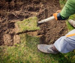 Boden Anheben Mit Spaten Rasen Abheben