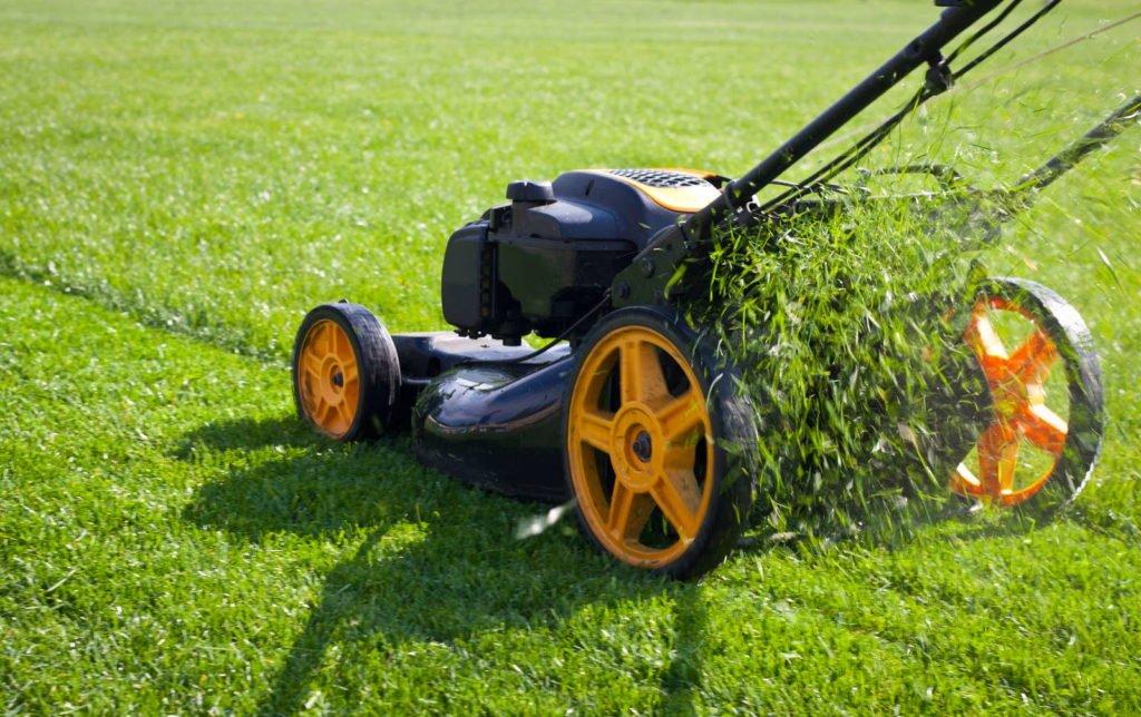 Mulchmäher auf Rasen