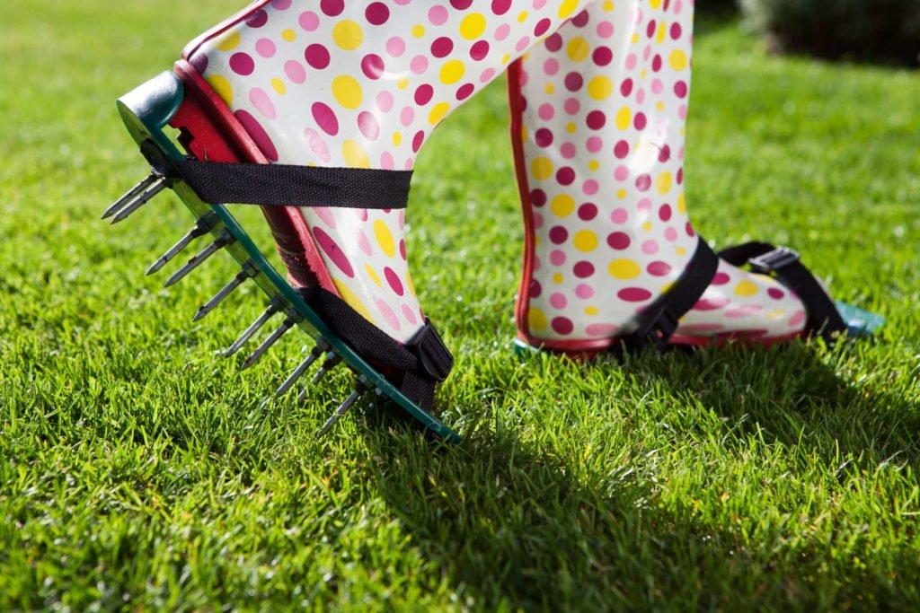 Rasen wird gelüftet