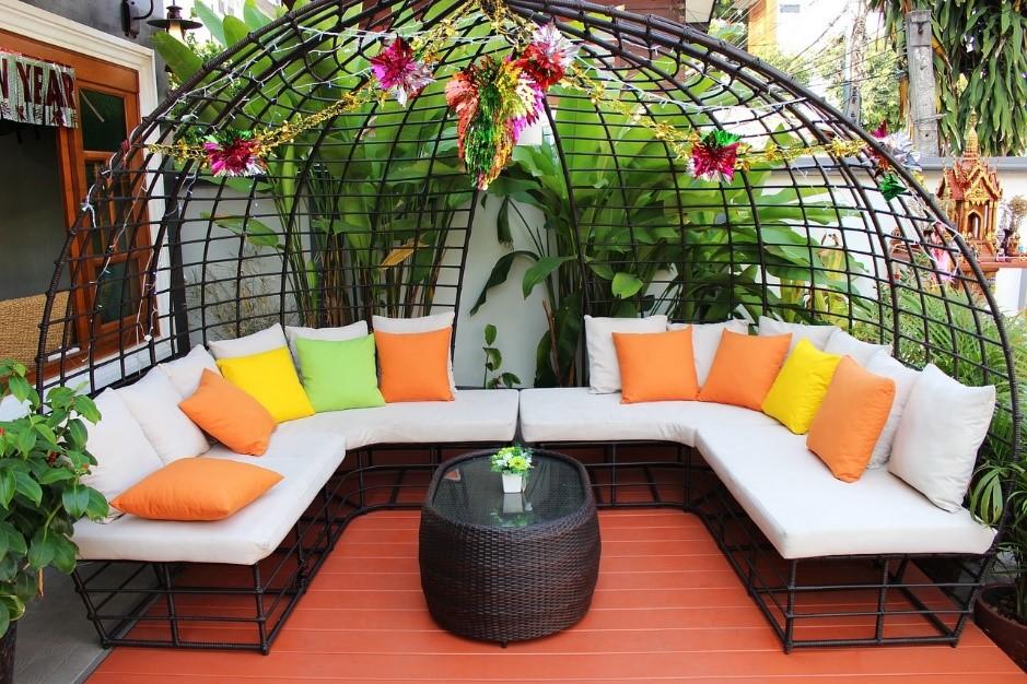Outdoor Wohnzimmer Sitzecke Garten gemütlich