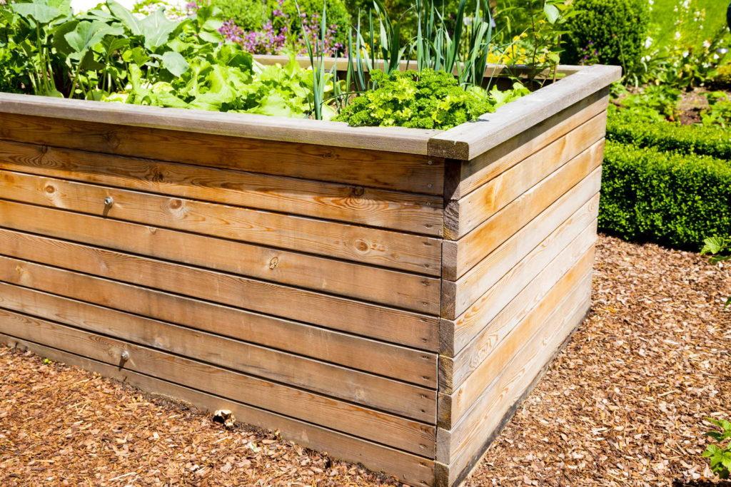 Hochbeet aus Holz im Garten