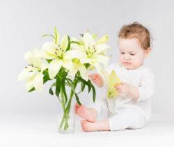 Kleinkind mit Lilien