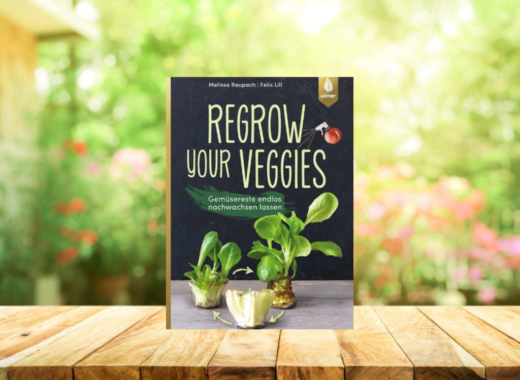 Buch Regrow your veggies auf Holztisch
