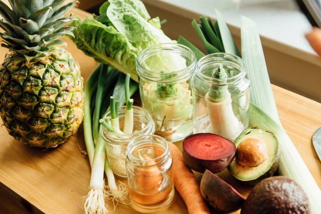 Regrowing von Gemüse