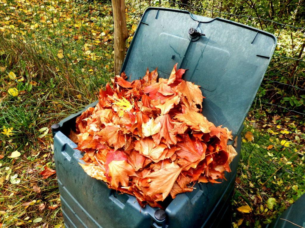 Gesammeltes Laub in Kompost