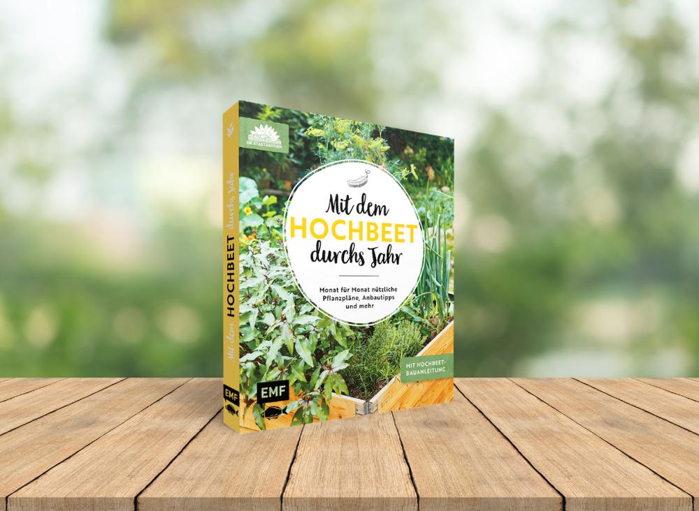 Buch auf Holztisch im Garten