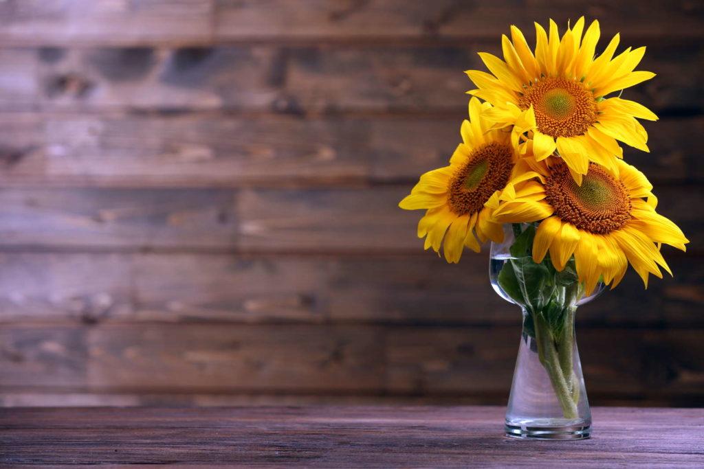 Sonnenblumen in Vase durchsichtig auf Holz