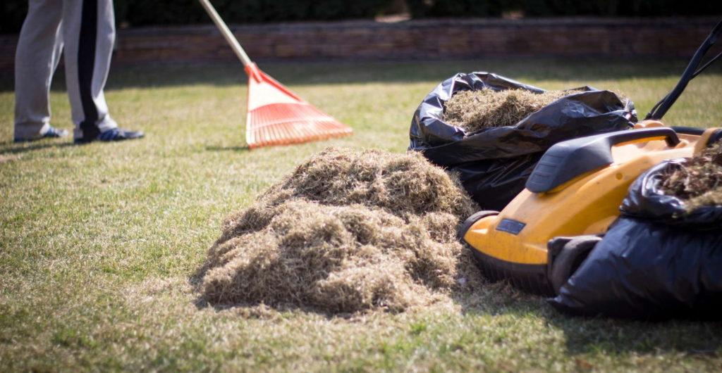 Gartenarbeit mit Rechen und Rasenmäher