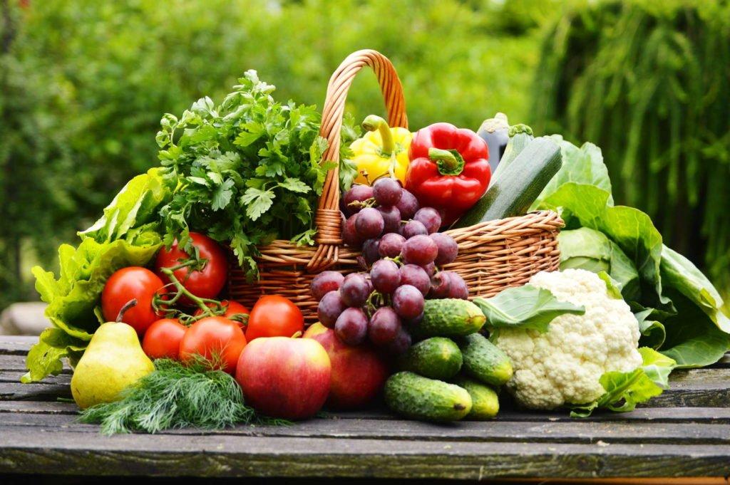 Korb voll Obst und Gemüse