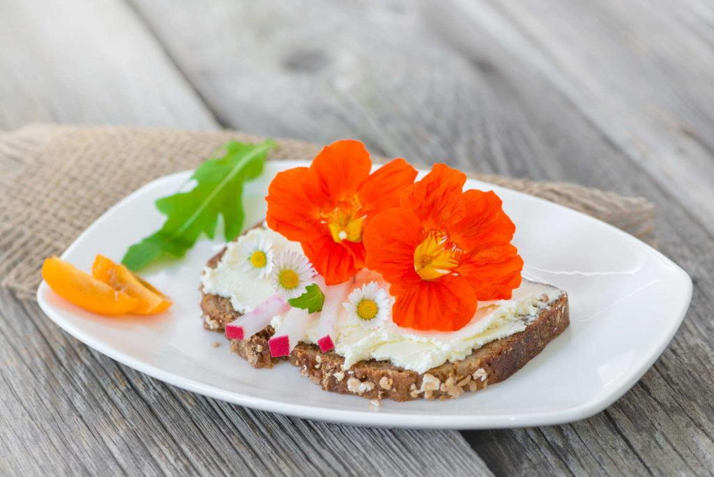 Blüten der Kapuzinerkresse auf einem Brot mit Frischkäse