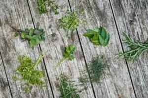 Kräuter Liegen Auf Einem Holzuntergrund
