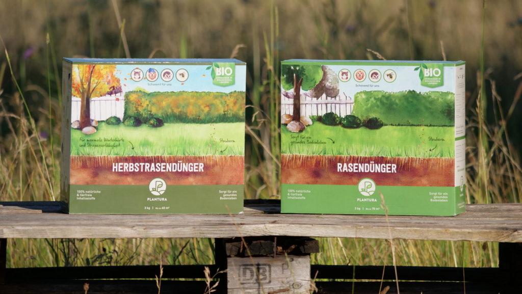 Zwei Schachteln Plantura Bio-Rasendünger und Herbstrasen-Dünger