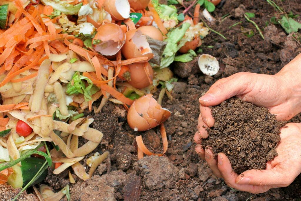 Komposthaufen mit Händen