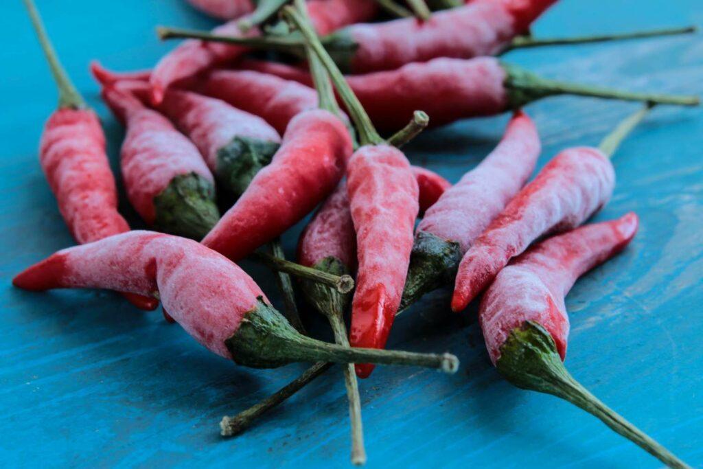 Eingefrorene Chilis