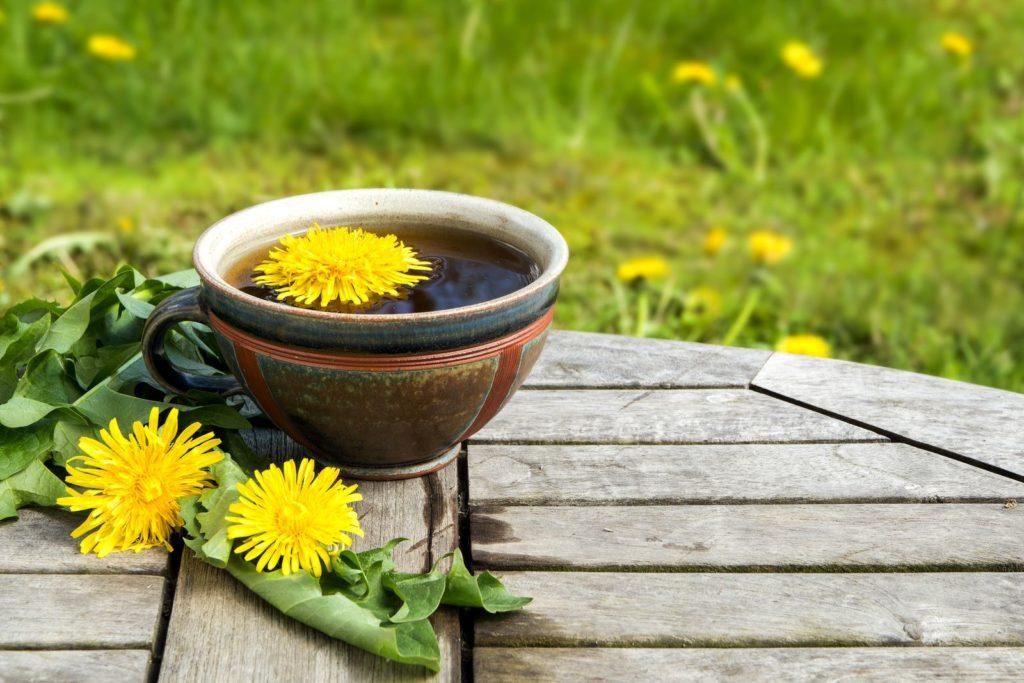 Löwenzahn-Tee auf einem Tisch
