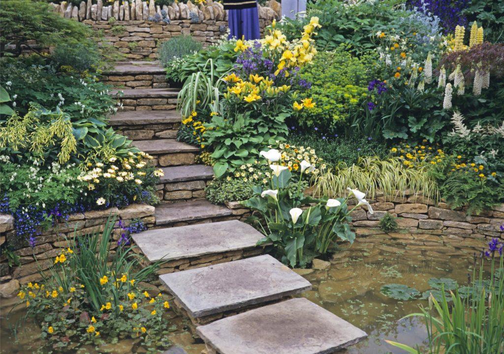 Stufen und Pflanzen in kleinem Garten