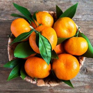 Mandarinen Im Korb Mit Blättern
