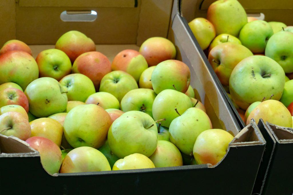 Äpfel liegen in Supermarkt-Karton