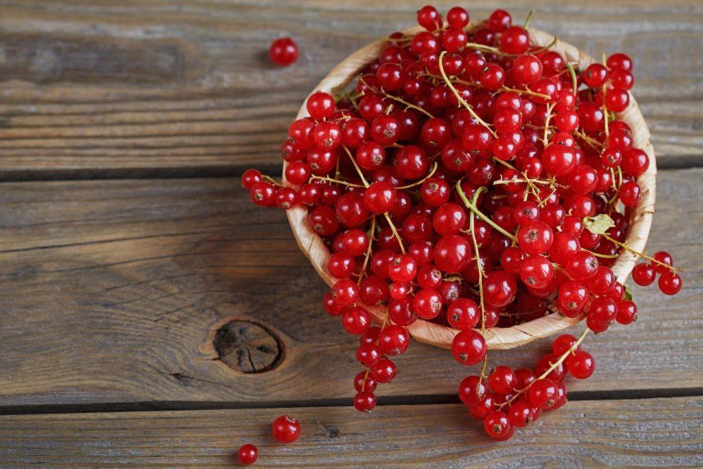 Rote Johannisbeeren in Holzschale auf Tisch