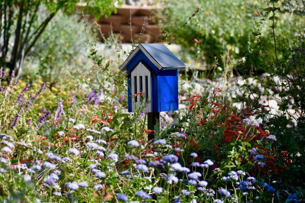 Blaues Schmetterlingshaus in Garten
