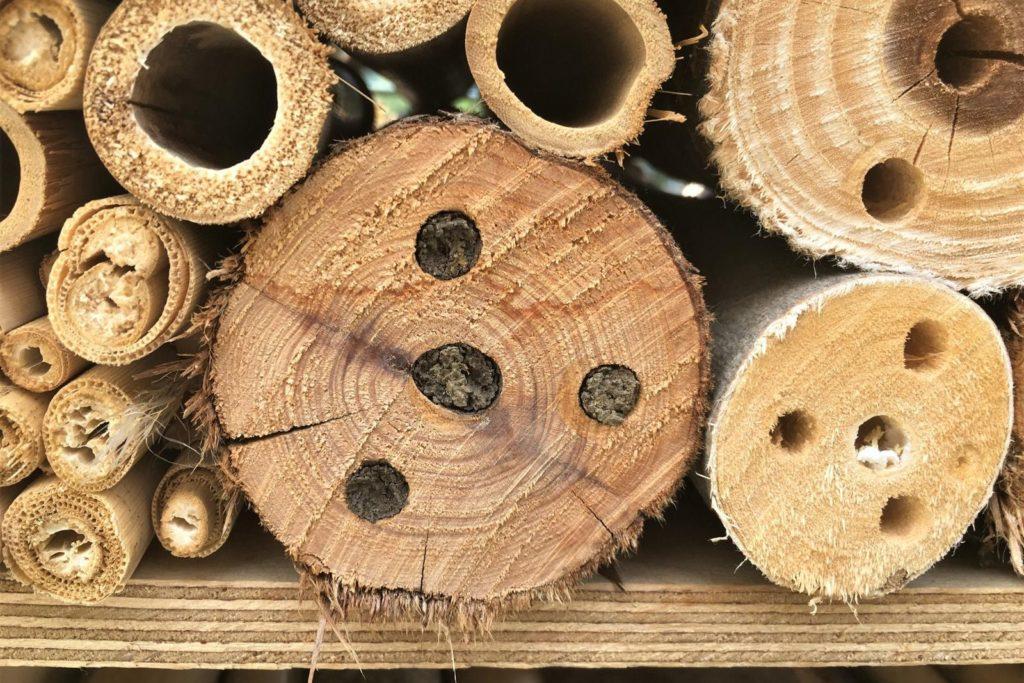 Insektenhotel mit Holzbestandteilen