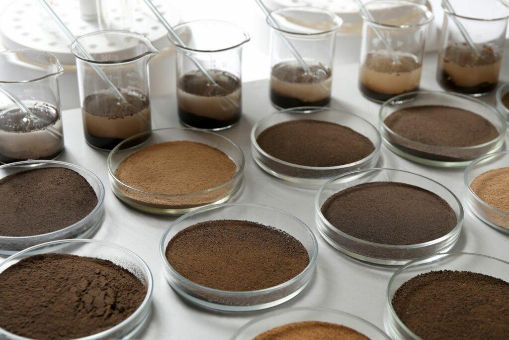 verschiedene Böden in einem Labor