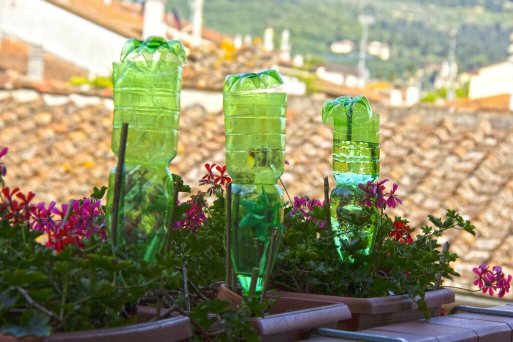 Bewässerung mit Plastikflaschen